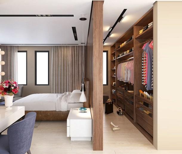 Вариант организации гардеробной в спальне, фото