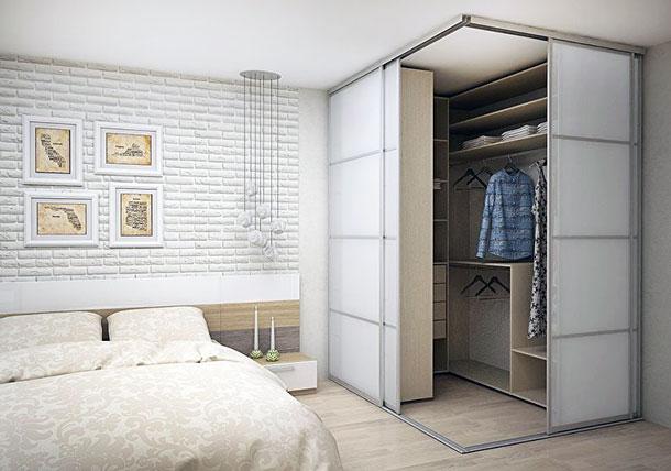 Гардеробная для спальни, угловой вариант