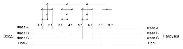 Схема подключение трехфазного счетчика через трансформаторы тока