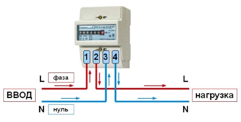 Схема подключения однофазного счетчика электроэнергии