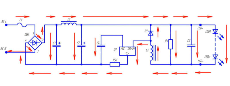 схема филаментной лампочки