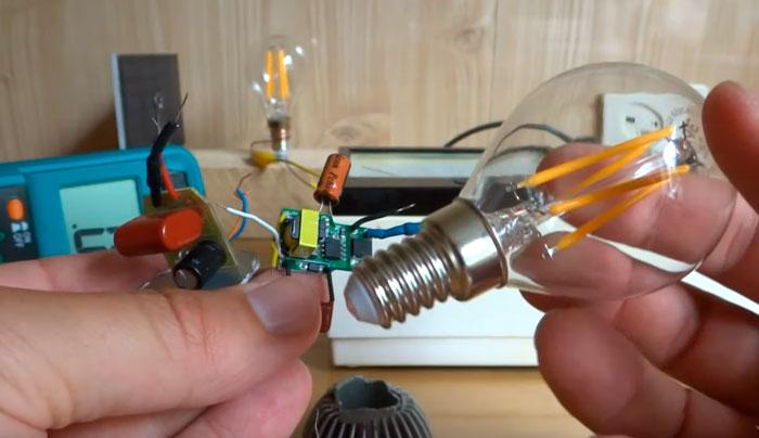 драйвер и филаментная лампа с цоколем Е14